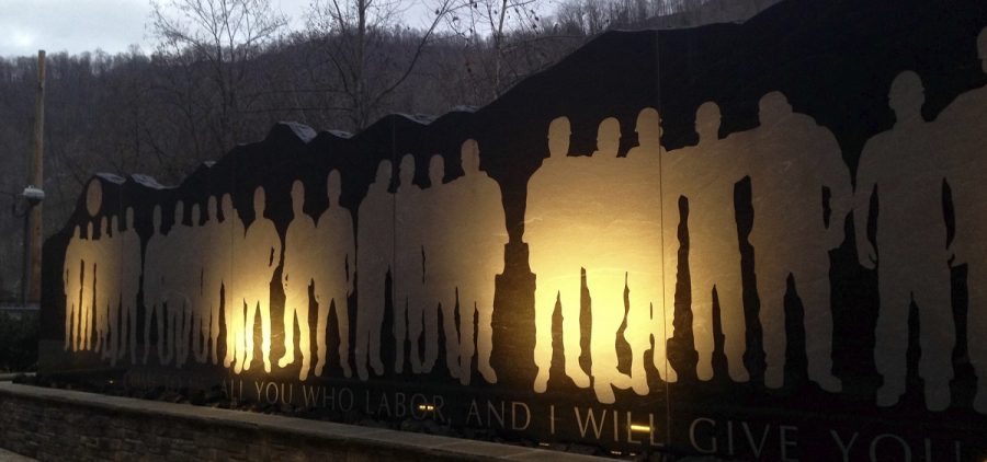 In this Dec. 3, 2015 file photo, The Upper Big Branch Miners Memorial is shown in Whitesville, W.Va.