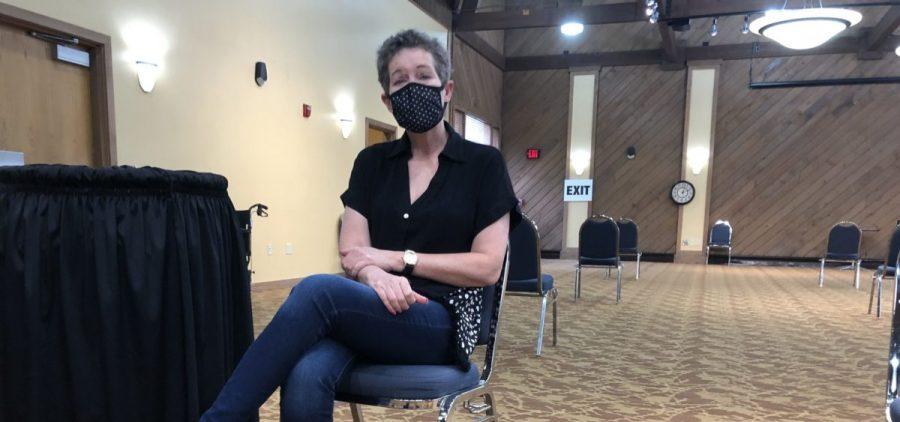 Phyllis Gibbs of Ballard County, Kentucky, waits after receiving her first dose of the Pfizer vaccine.