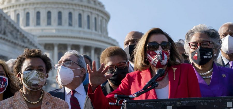 House Speaker Nancy Pelosi speaks alongside members of the Congressional Black Caucus on Tuesday following the verdict against former Minneapolis police officer Derek Chauvin for the murder of George Floyd.