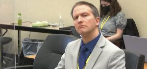 Former Minneapolis police officer Derek Chauvin listens to his defense attorney make closing arguments on Monday during his trial in the death of George Floyd.