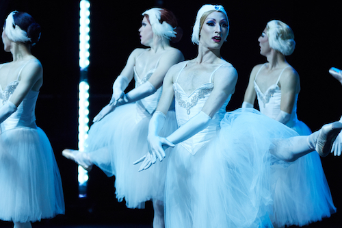 "Male ballerina's performing ""Swan Lake."" Kevin Garcia (center)."