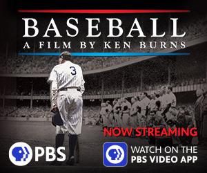 Babe Ruth walking on baseball field. Now streaming baseball ad