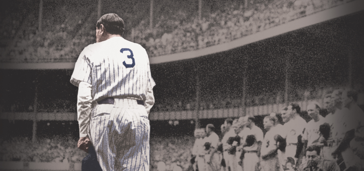 Babe Ruth from the back wearing #3 Yankee uniform