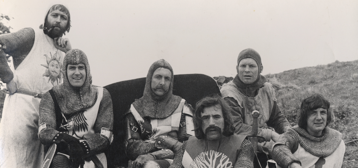 The cast of Monty Python and the Holy Grail, released in 1975.