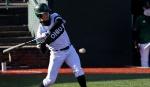 Harry Witwer-Dukes swings at a pitch as the Ohio baseball team competes against the University of Wisconsin-Milwaukee at Bob Wren Stadium on Friday, March 5, 2021, in Athens, OH. Ohio defeated Milwaukee 14-3. (Chris J. Day/WOUB)