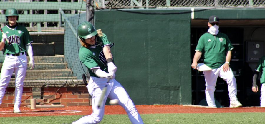Ohio Baseball senior Treyben Funderburg swings at a pitch during the Bobcats' game against Bowling Green on March 21, 2021 at Bob Wren Stadium. (PHOTO: Nick Viland/WOUB)