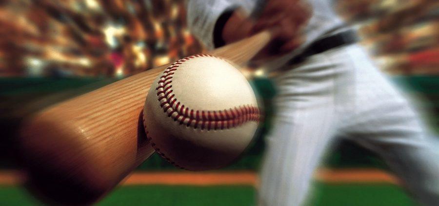 Fisheye image of baseball bat hitting baseball