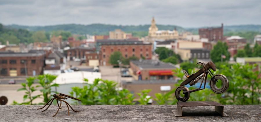 Metal sculpture is seen at the Pioneer School Community Arts Center which is located in and looks over Zanesville, Ohio, on Wednesday, June 9, 2021.