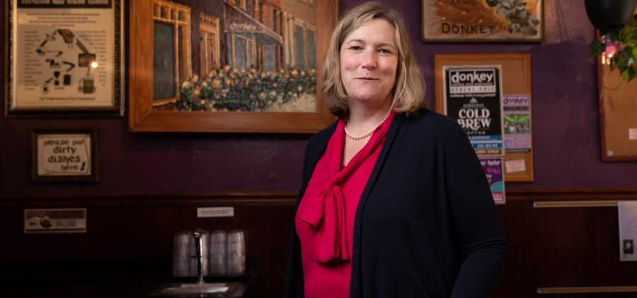 Nan Whaley, a Democratic candidate for Ohio Governor in 2022, stands inside the entrance of Donkey Coffee, a local coffee shop, in Athens, Ohio, on Friday, June 11, 2021.