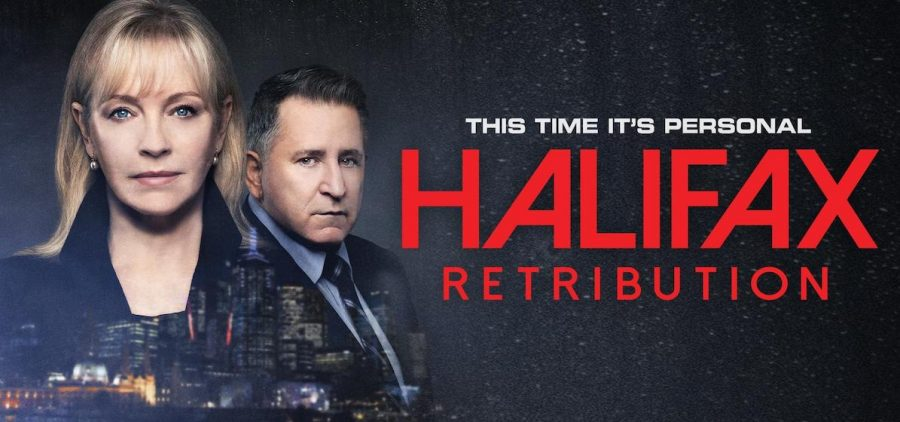 """Key art for """"Hailfax Retribution"""". Two detectives looking straight"""