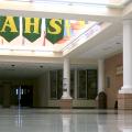 Empty hallway in a high school