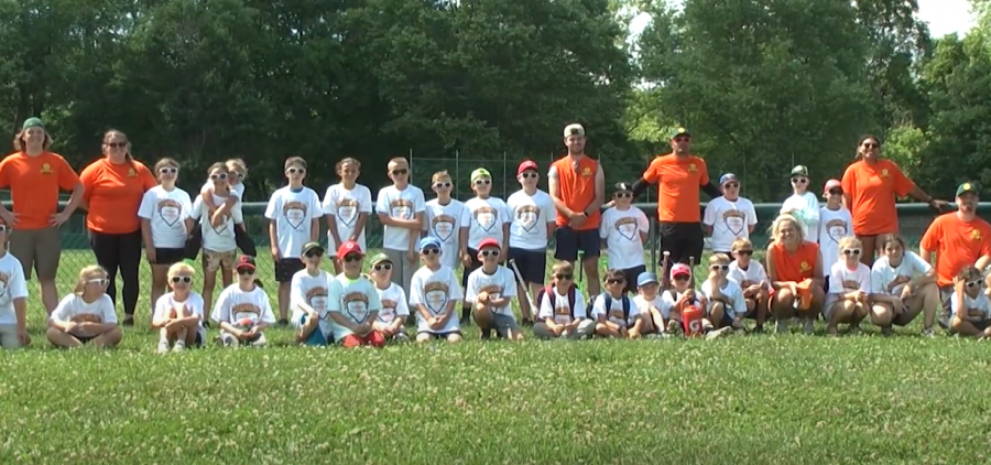Clinic participants and volunteers gather for a group picture following the Copperheads hitting and pitching clinic on June 27, 2021 at the Athens sandlot fields.
