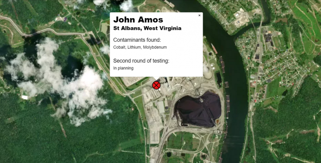 Aerial image of the John Amos plant with groundwater testing results near ash waste.