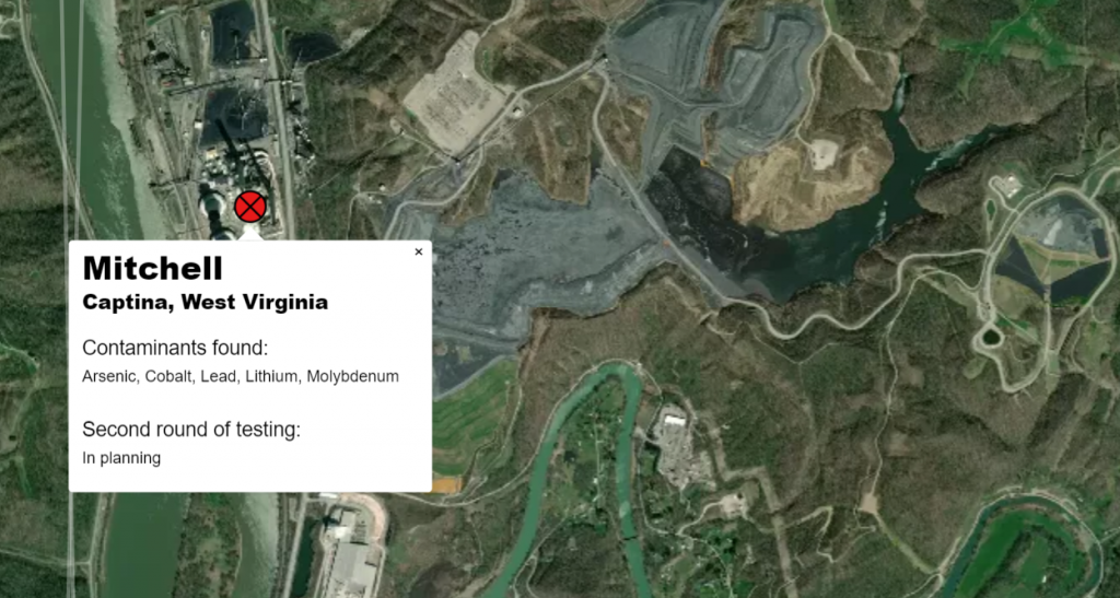 Aerial image of the Mitchell plant with groundwater testing results near ash waste.