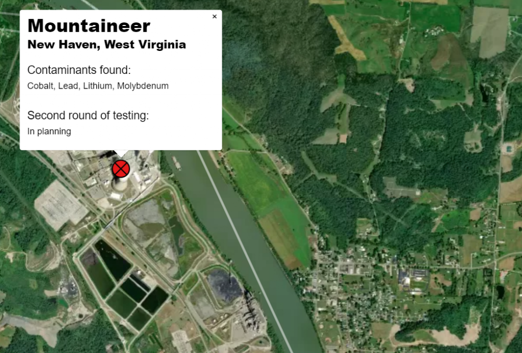 Aerial image of the Mountaineer plant with groundwater testing results near ash waste.