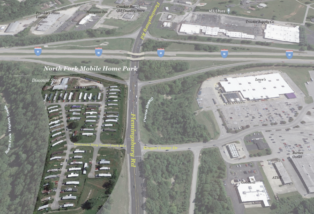 Aerial image showing the former North Fork Mobile Home Park location in Morehead, KY
