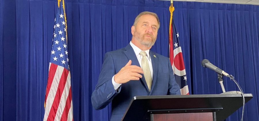 Ohio Attorney General Dave Yost at a press conference announcing the settlement with Centene.