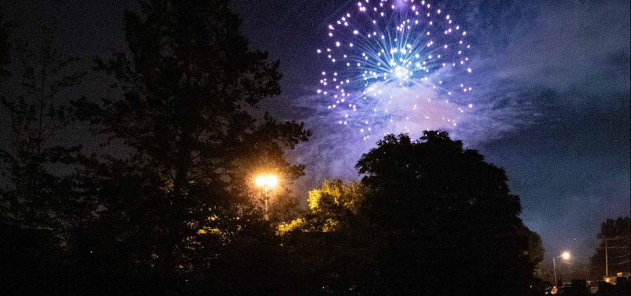 Fireworks explode over the pond outside the front of Hocking College. [Joseph Scheller | WOUB]