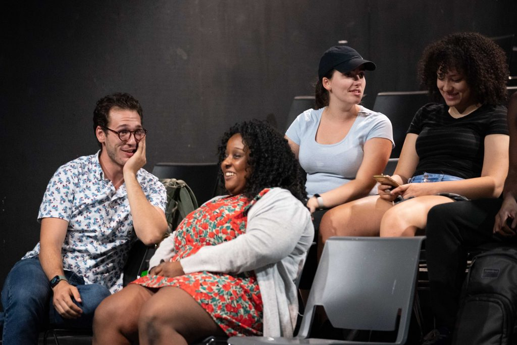 Carter Rice, left, Jaliyah Townsend, Chiara Ridpath, and Sydney Lewis laugh with each other while in rehearsal for Ohio Valley Summer Theater's 70th anniversary performance, in Athens, Ohio, on Thursday, July 8, 2021. [Joseph Scheller | WOUB]