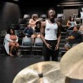 """Members of Ohio Valley Summer Theater, Rhys Carr, center, and Carter Rice, sing """"Here for You"""" during a rehearsal for 70th anniversary celebration of the theater program in Athens, Ohio, on Thursday, July 8, 2021. [Joseph Scheller 