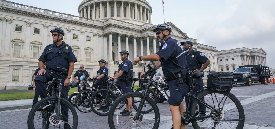 U.S. Capitol Police Mountain Bike officers secure the plaza