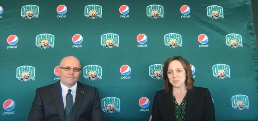 New Head Football Coach Tim Albin and Ohio Athletic Director Julie Cromer at a press conference Thursday, July 15