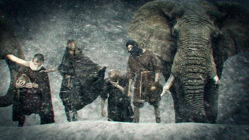 a mock up of Hannibal and men crossing the Alps