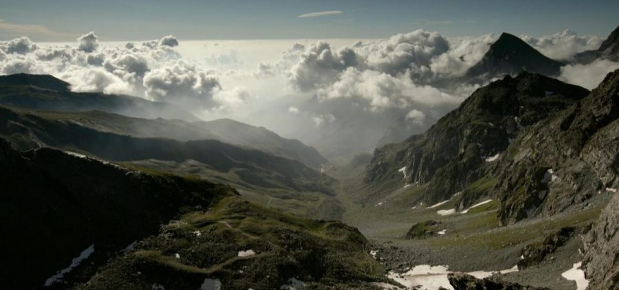 A look down the Alps mountain range