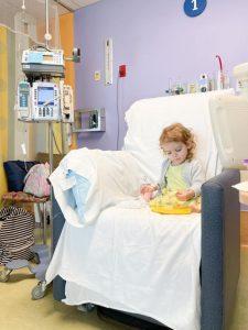Kelly Brennan daughter getting IV treatment