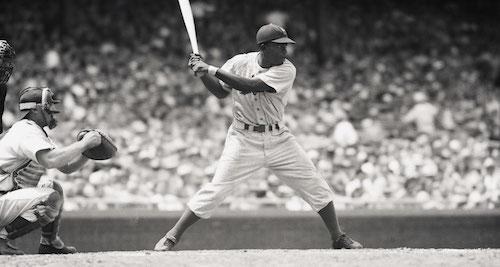 Jackie Robinson at bat
