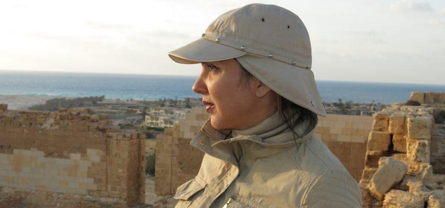 Main contributor Kathleen Martinez, at Taposiris Magna temple ruins.