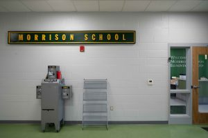 A sign inside of the new Morrison-Gordon Elementary school is seen in Athens, Ohio, on Tuesday, Aug. 10, 2021. [Joseph Scheller | WOUB]