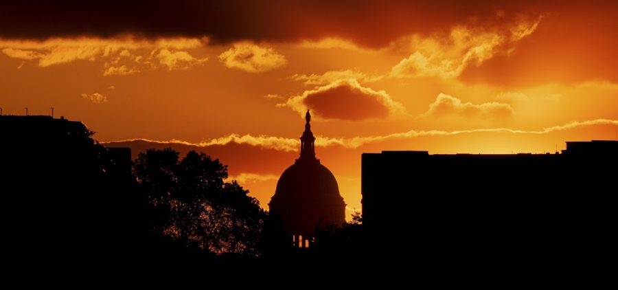 The U.S. Capitol at sunset