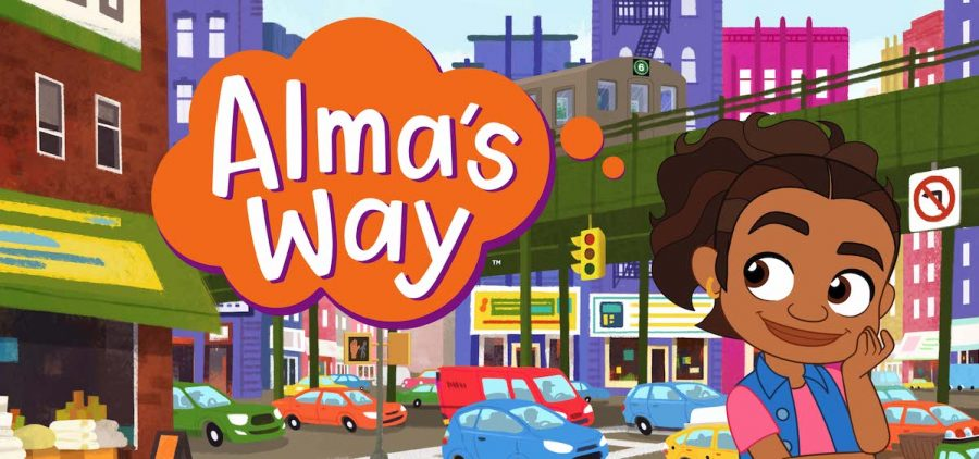 """animated girl in city with thought bubble of """"Alma's Way"""""""