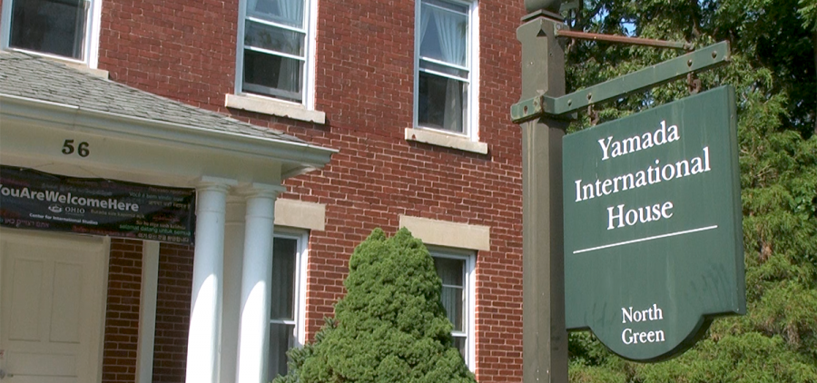 Sign in front of Yamada International House on the North Green of Ohio University