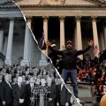 split photo of DC legislators together/jan 6 insurrection