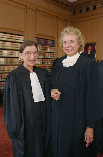 Justices Ruth Bader Ginsburg and Sandra Day O'Connor in the Justices' Conference Room, 1993