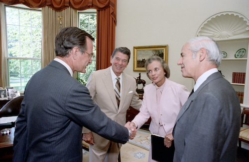 President Reagan, George Bush and William French Smith meeting with Supreme Court Nominee Sandra Day O'Connor in oval office