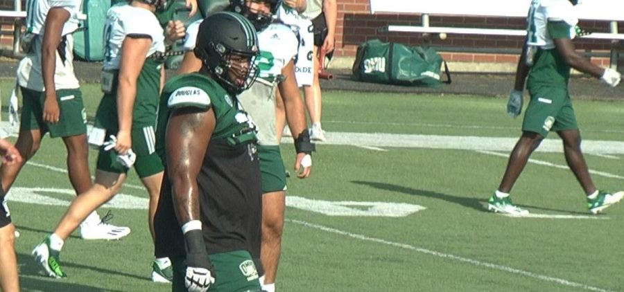 TJ Jackson on the field for practice