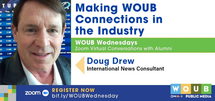 Headshot of Doug Drew and graphic promoting WOUB Wednesday
