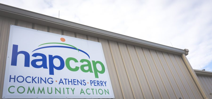 Sign reads hapcap Hocking, Athens, Perry, Community Action