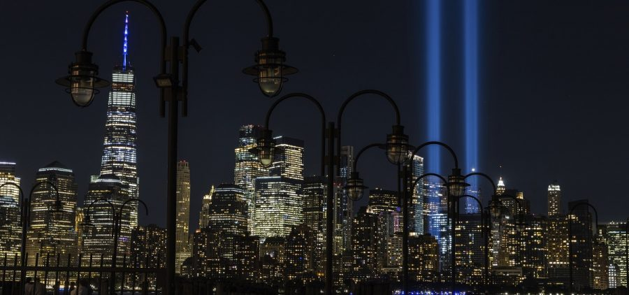 Tribute in Light, two vertical columns of light representing the fallen towers of the World Trade Center shine against the lower Manhattan skyline on the 19th anniversary of the September 11, 2001 terror attacks, seen from Jersey City, N.J., Friday, Sept. 11, 2020.