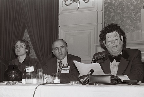 """Disguised as """"Dr. H. Anonymous"""" in an oversized tuxedo and distorted Nixon mask, Dr. John Fryer sent shock waves through the American Psychiatric Association's 1972 convention"""