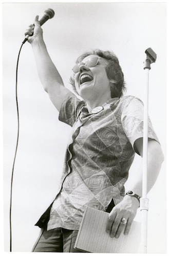 activist Barbara Gittings addressed a crowd of thousands at the 1973 Christopher Street Liberation Day rally in New York City.