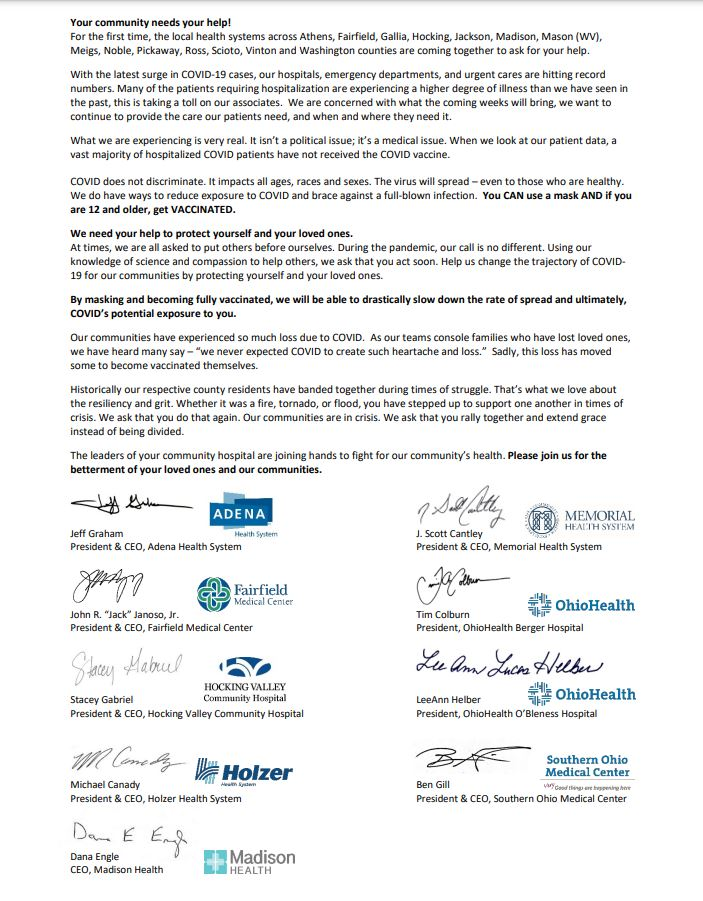 A letter from regional hospitals asking people to get vaccinated and wear masks