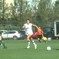 Ohio Soccer's Heather McGuire dribbles the ball up the field against Navy in the Bobcats' match on Thursday, September 2nd, 2021 at Chessa Field in Athens, Ohio