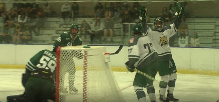 Ohio Bobcats Hockey's Jack Mueller celebrates one of his two goals of the night at Bird Arena