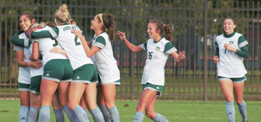 The Ohio soccer team celebrates on the field following its 2-1 victory over Buffalo on Sept. 23, 2021 at Chessa Field. [Ayden Crowley | WOUB]