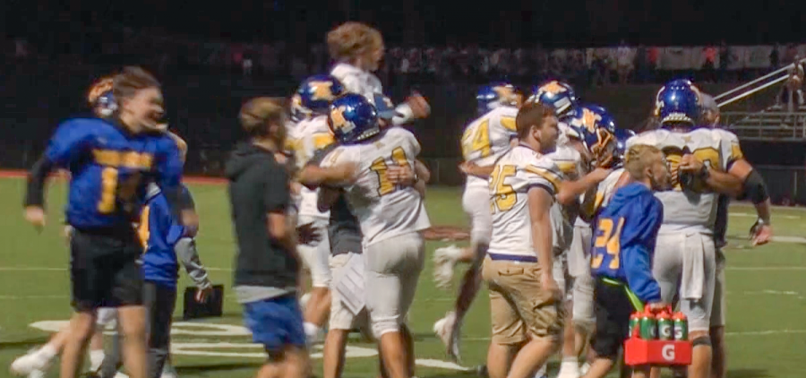 West Muskingum players celebrate on the field