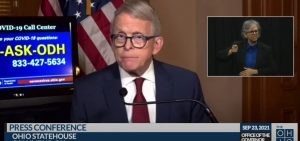 Gov. Mike DeWine at a press conference